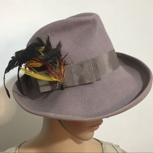 Vintage Lancaster Taupe 100% Wool Hat W/Feathers